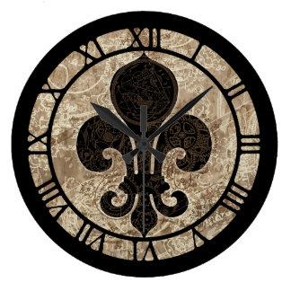 Clockwork Fleur De Lis Large Clock
