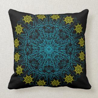 Clockwork Flower Mandala Throw Pillow