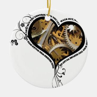 Clockwork heart design ceramic ornament