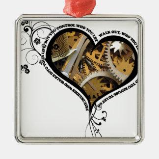 Clockwork heart design metal ornament
