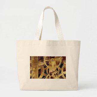 clockwork MECHANISM CLOCK Large Tote Bag