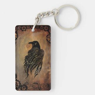 Clockwork Raven Double-Sided Rectangular Acrylic Keychain