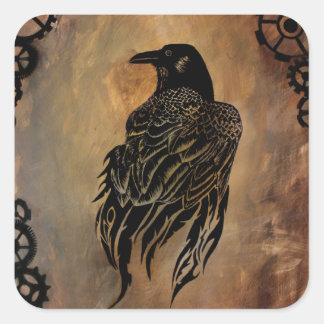 Clockwork Raven Square Sticker