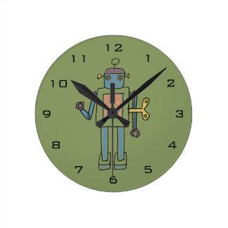 Clockwork Robot Round Clock