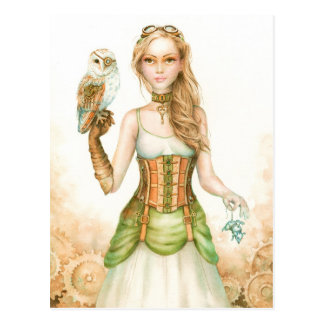 Clockwork, rustic steampunk girl and owl postcard