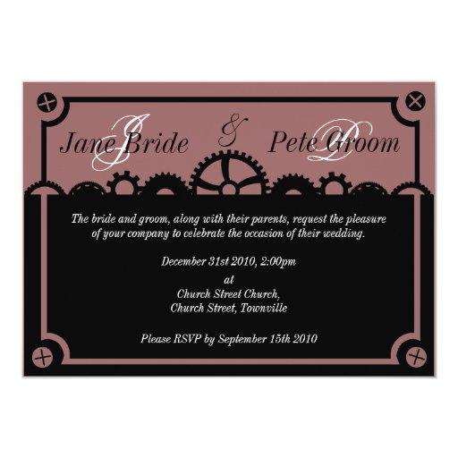 Clockwork Silhouette, wedding invitation