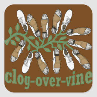 Clog Over Vine Dance Square Sticker