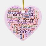 Clogger Clogging Word Art Heart Ornament