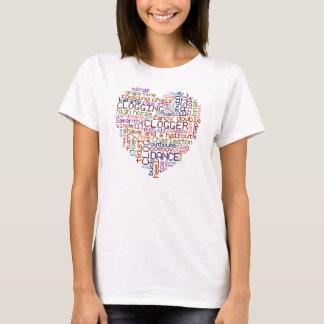 Clogger Dance Steps Clogging Word Art Heart T-Shirt