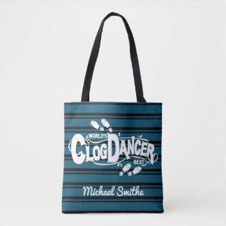 Clogging Clog Dancer Blue Vintage Stripes Add Name Tote Bag
