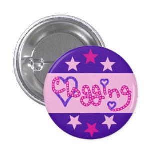 Clogging Love Stars Hearts Pink 1 Inch Round Button