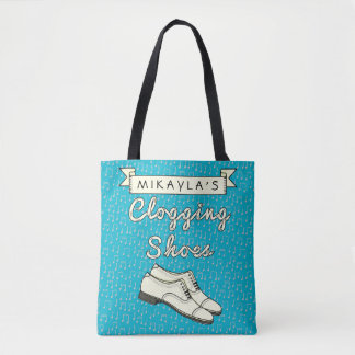Clogging Shoes Blue Cloggers   Personalized Name Tote Bag