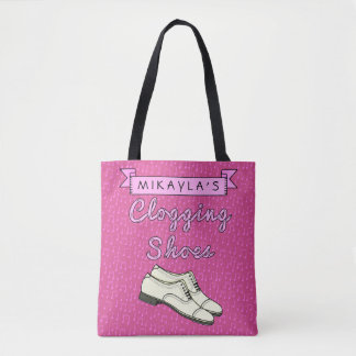 Clogging Shoes Pink Cloggers | Personalized Name Tote Bag