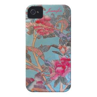 Cloisonne del rosa en colores pastel y del azul iPhone 4 Case-Mate fundas