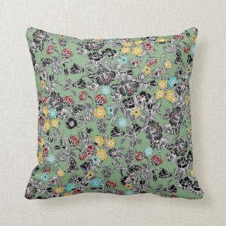 cloisonne flowers sage throw pillow