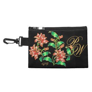 Cloisonné Garden of Large Red Flowers baguette Accessory Bag