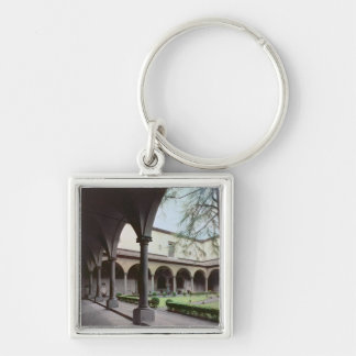 Cloister of the convent, rebuilt in 1442 (photo) Silver-Colored square keychain