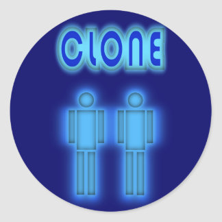 Clone TWO Figures Design Classic Round Sticker