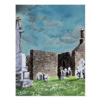 Clonmacnoise Ireland Impressionistic Watercolor Pa Postcard
