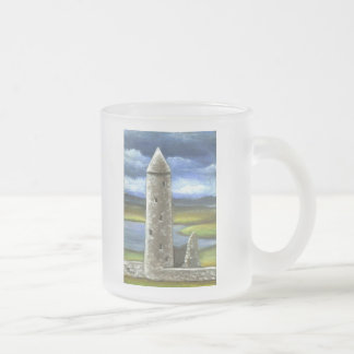 Clonmacnoise round tower 10 oz frosted glass coffee mug