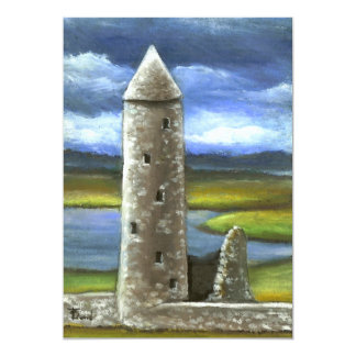 Clonmacnoise round tower 5x7 paper invitation card