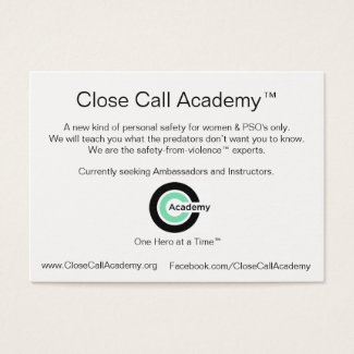 Close Call Academy Info Business Card