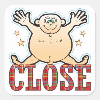 Close Fat Man Square Sticker