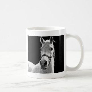 Close-up Black White Horse in Night Coffee Mug