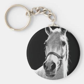 Close-up Black White Horse in Night Keychain