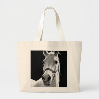 Close-up Black White Horse in Night Large Tote Bag