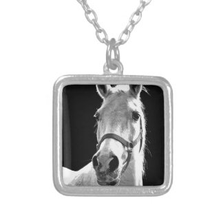 Close-up Black White Horse in Night Silver Plated Necklace