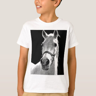 Close-up Black White Horse in Night T-Shirt