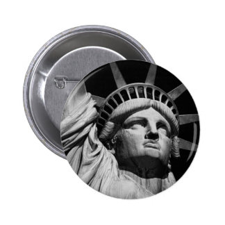 Close-up Black White Statue of Liberty New York Button