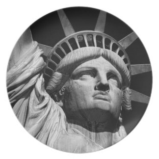 Close-up Black White Statue of Liberty New York Dinner Plate