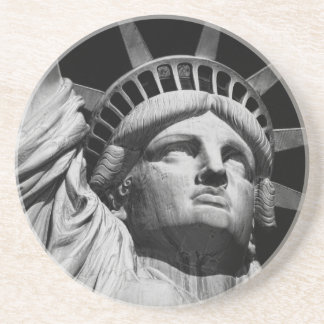 Close-up Black White Statue of Liberty New York Drink Coaster