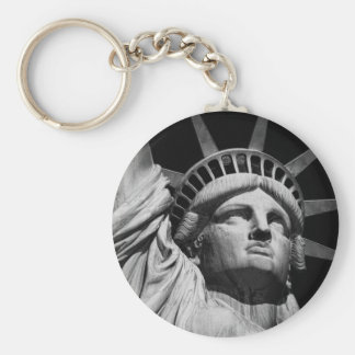 Close-up Black White Statue of Liberty New York Keychain