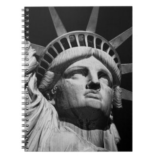 Close-up Black White Statue of Liberty New York Notebook