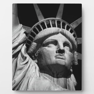 Close-up Black White Statue of Liberty New York Plaque
