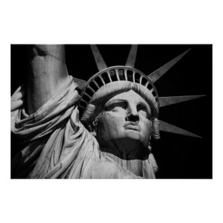 Close-up Black & White Statue of Liberty New York Poster