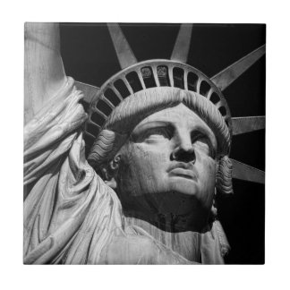 Close-up Black White Statue of Liberty New York Tile