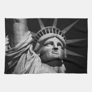 Close-up Black White Statue of Liberty New York Towel