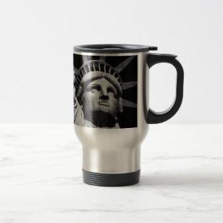 Close-up Black White Statue of Liberty New York Travel Mug