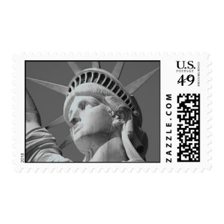 Close-up Black & White Statue of Liberty Postage