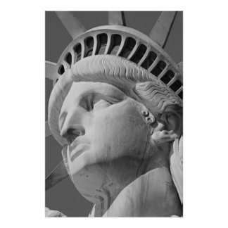 Close-up Black & White Statue of Liberty Poster