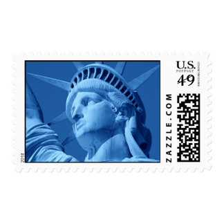 Close-up Blue Statue of Liberty Stamps