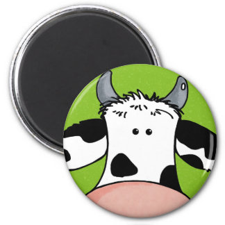 close up cow 2 inch round magnet