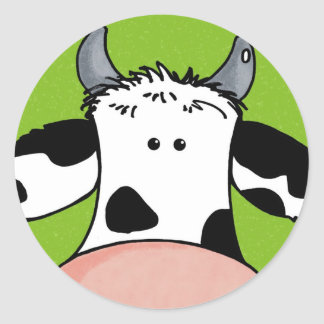 close up cow classic round sticker