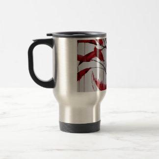 close up cutting tree travel mug