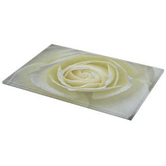 Close up details of white rose cutting boards