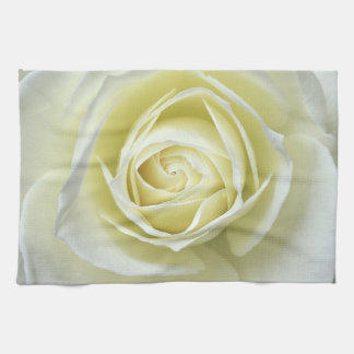 Close up details of white rose kitchen towels